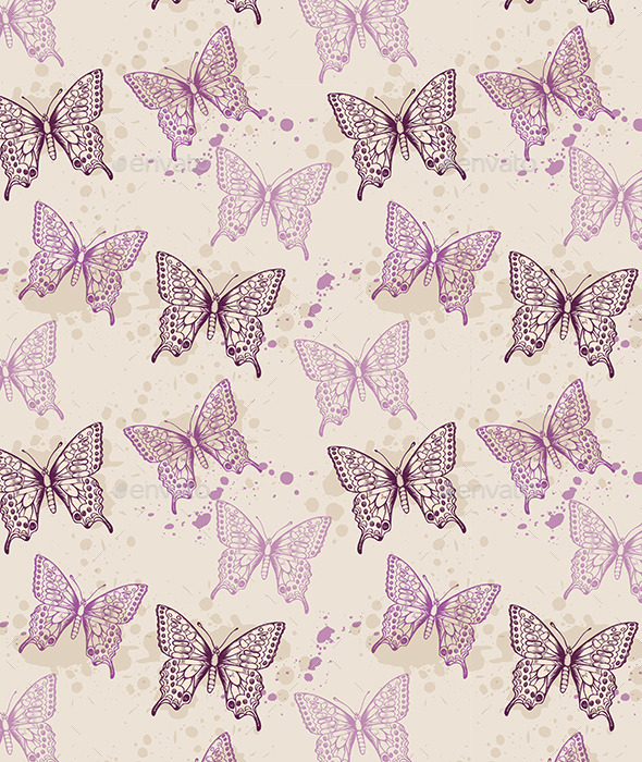 GraphicRiver Seamless Pattern with Violet Butterflies 11546940