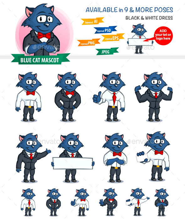 GraphicRiver Blue Cat Mascot 11547167