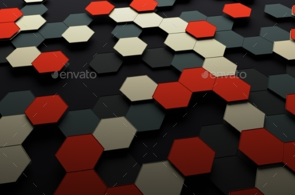 GraphicRiver Abstract 3D Rendering Of Surface With Hexagons 11547219