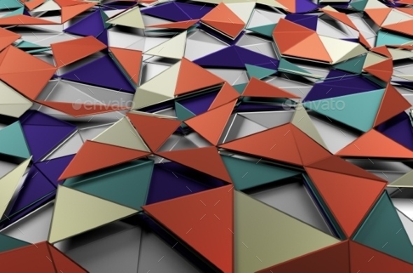 GraphicRiver Abstract 3D Rendering Of Low Poly Colored Surface 11547225