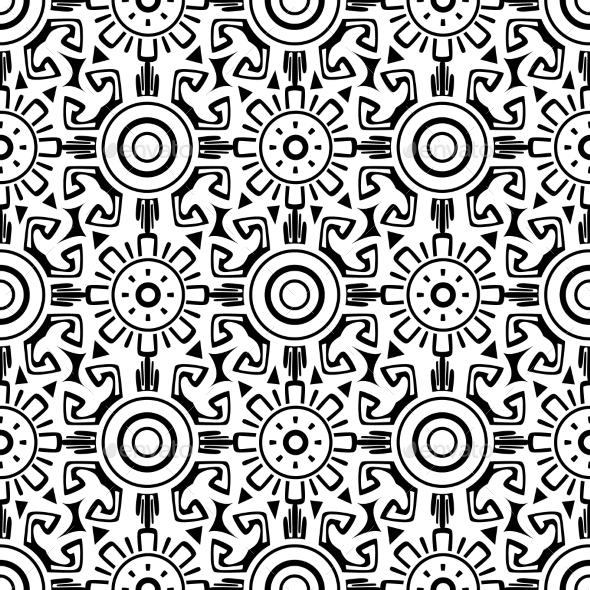 GraphicRiver Tribal Wheels Seamless Pattern 11547261