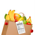 Shopping bag with healthy fruit and a nutrient label. - PhotoDune Item for Sale