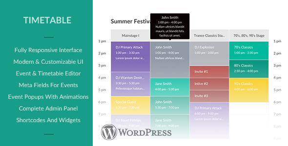 Responsive Timetable for WordPress (Calendars) Download