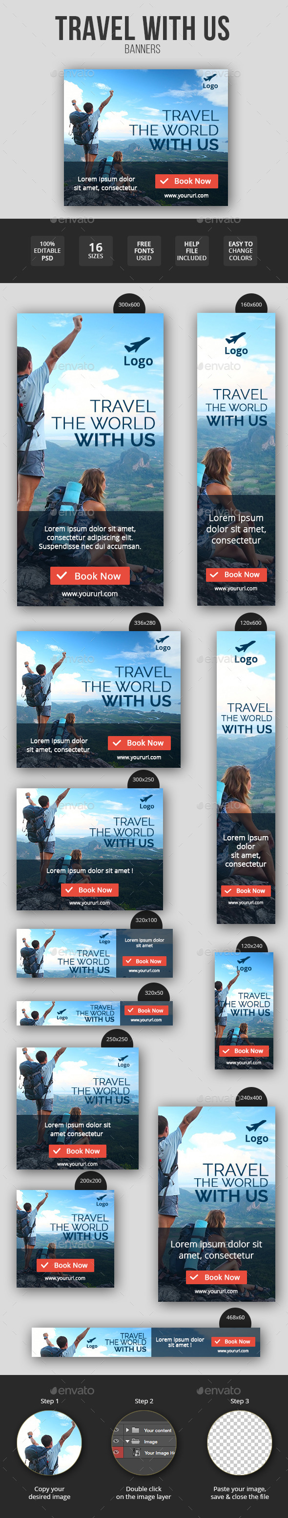 GraphicRiver Flat & Minimal Travel Banners 11547501