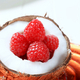 Fresh raspberries in a coconut shell - PhotoDune Item for Sale