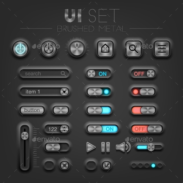 GraphicRiver Brushed Metal Dark UI 11548130