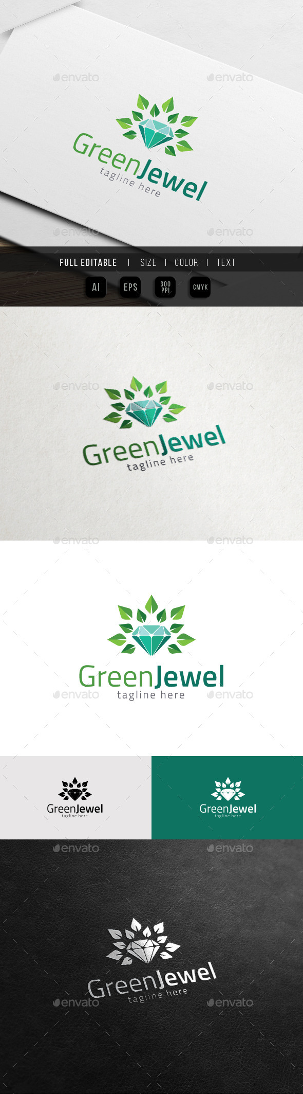 GraphicRiver Natural Jewel Green Gem Logo 11548296