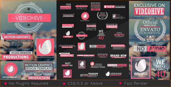 AE模板:35组扁平化风格 文字动画排版 标题布局 电视栏目包装模板