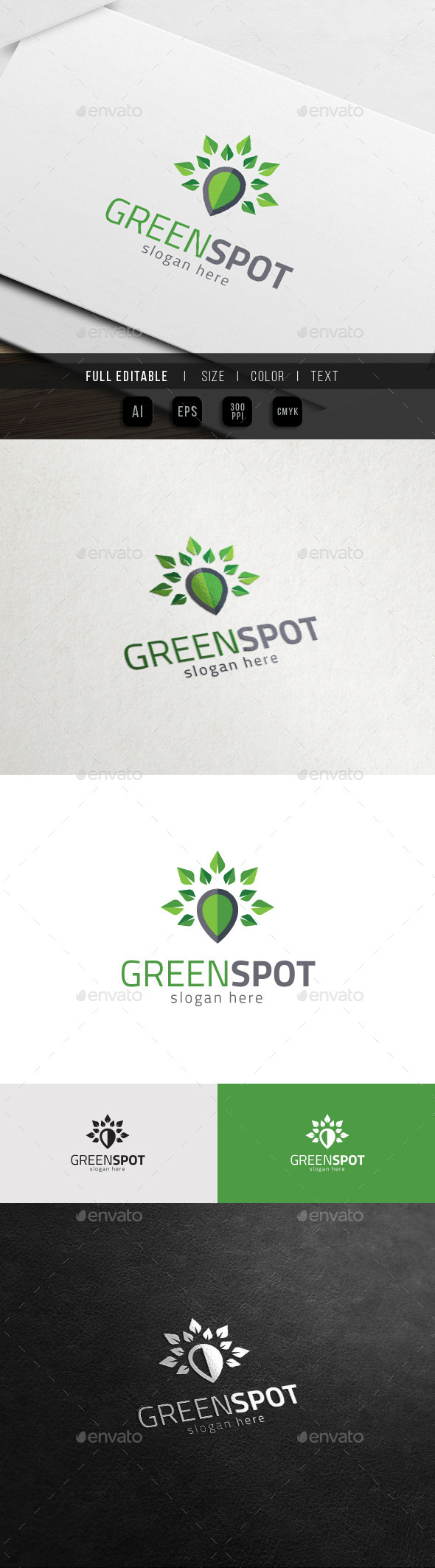 GraphicRiver Green Spot Nature Map Eco Locator Logo 11548375