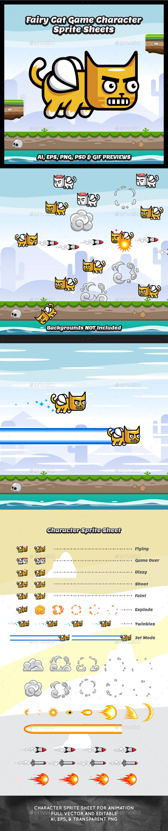 GraphicRiver Flappy Fairy Cat Game Character Sprite Sheets 11548551