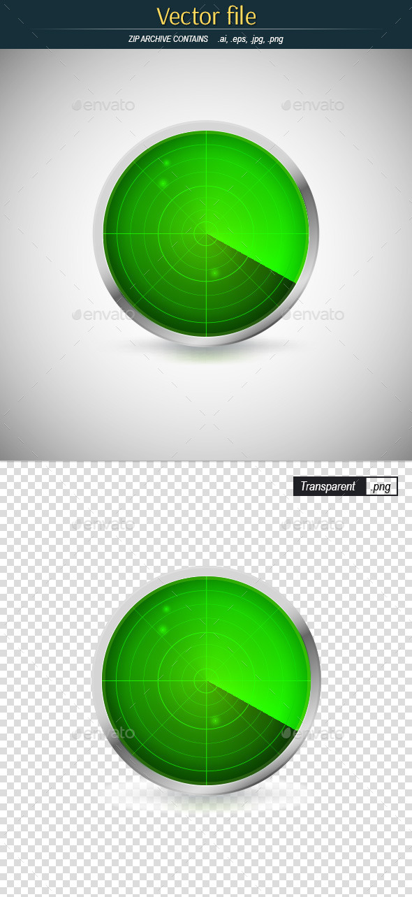 GraphicRiver Round Radar Icon with Green Screen 11548714