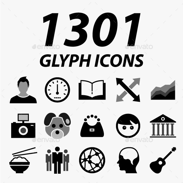 GraphicRiver 1301 Glyph Vector Icons 11548799