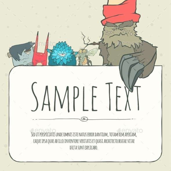 GraphicRiver Doodle Monster Greeteng Or Invitation Card 11548797