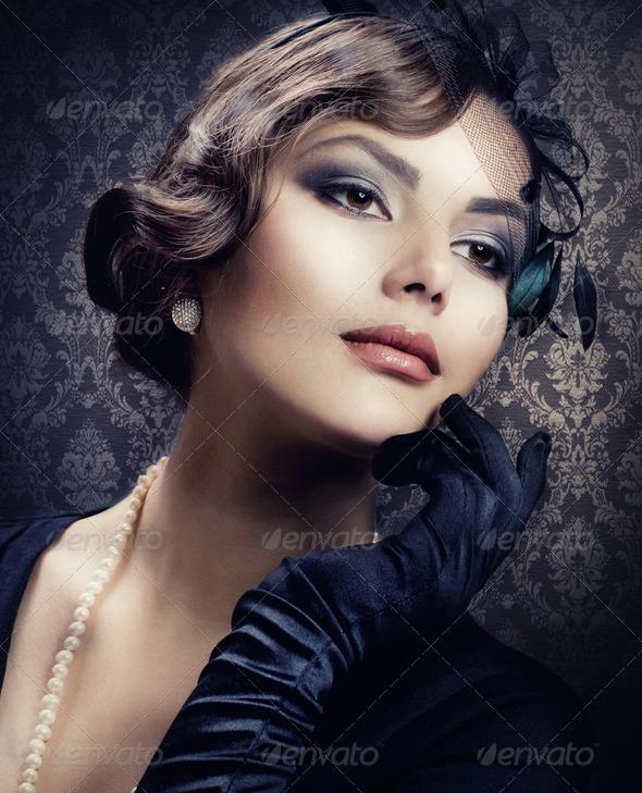 Romantic Beauty. Retro Style - Stock Photo - Images