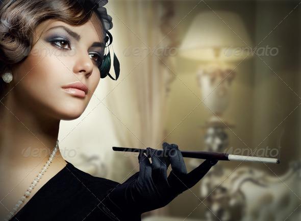 Romantic Beauty. Retro Style, Luxury Interior - Stock Photo - Images