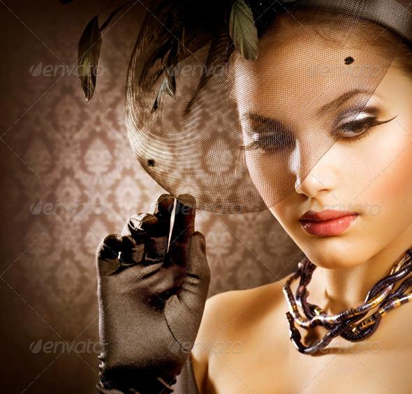 Romantic Beauty Portrait. Retro Style - Stock Photo - Images