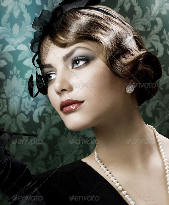 Romantic Beauty. Retro Style - Stock Photo - Images