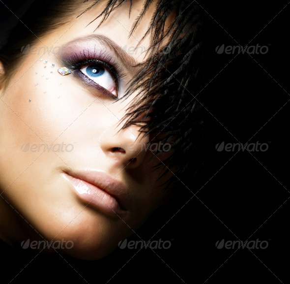 Fashion Girl's Face. Perfect Makeup. Isolated On Black - Stock Photo - Images