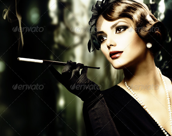Retro Woman Portrait. Sepia Toned - Stock Photo - Images