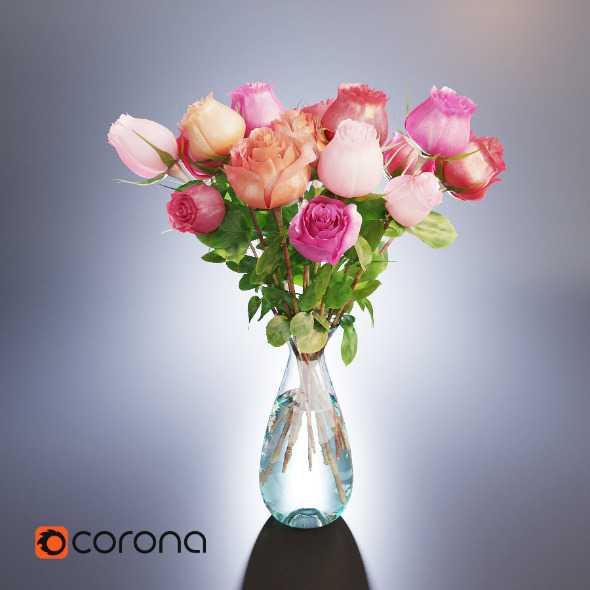 A bouquet of roses in a vase - 3DOcean Item for Sale