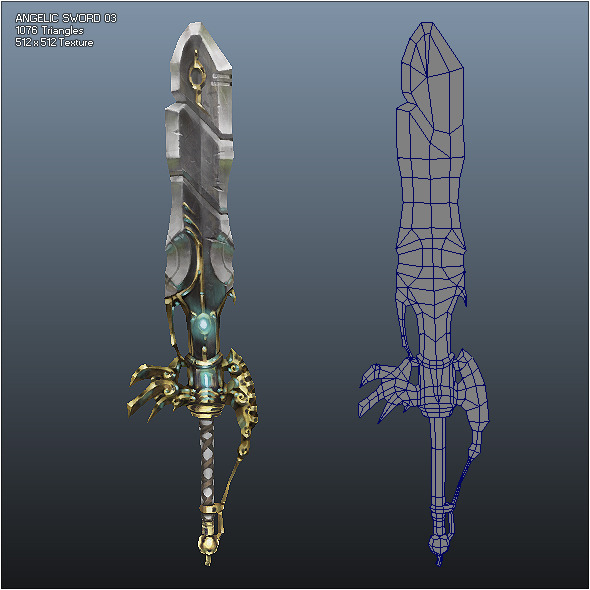 Low Poly Crusader Angelic Sword 03 - 3DOcean Item for Sale