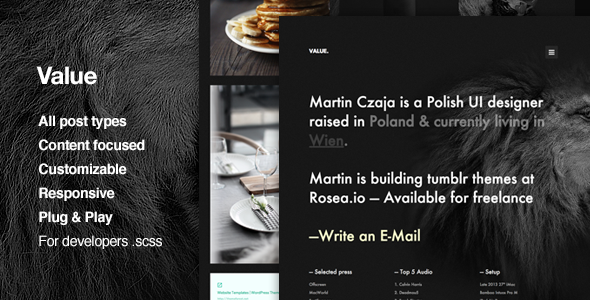 ThemeForest Value Content Focus Portfolio Tumblr Theme 11492102