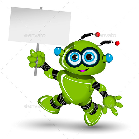 GraphicRiver Robot with a Sign 11550570