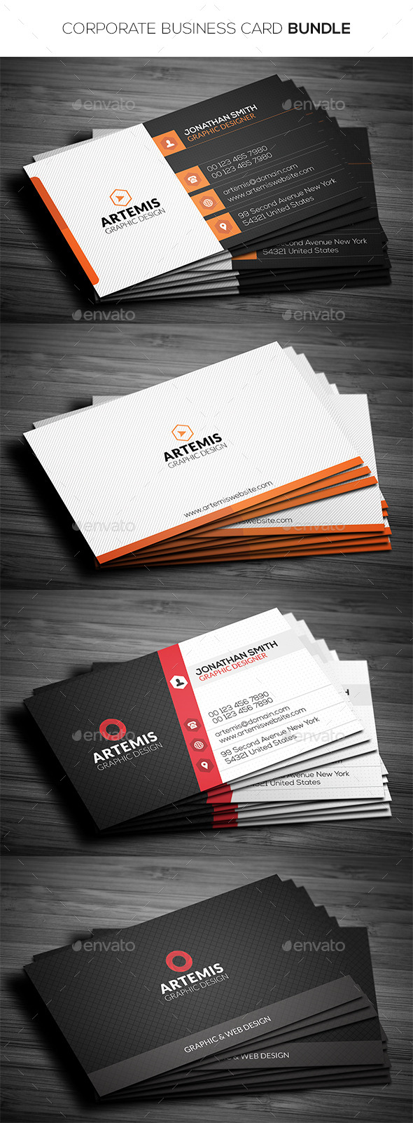 GraphicRiver 2 in 1 Corporate Business Card Bundle 11451662