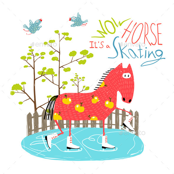 GraphicRiver Colorful Fun Cartoon Ice Skating Horse for Kids 11552308