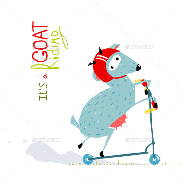 GraphicRiver Childish Colorful Fun Cartoon Goat Riding Scooter 11552345