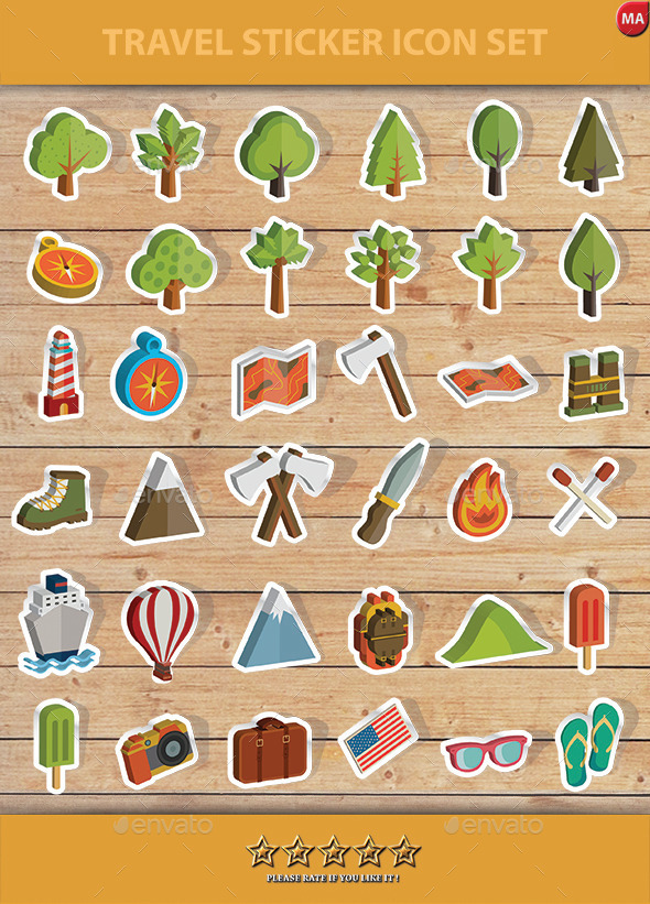 GraphicRiver Travel Sticker Icon set 11552552