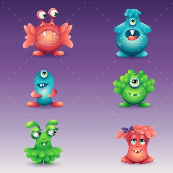 GraphicRiver Set of Colored Cartoon Monsters 11553517