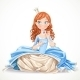 Princess in a Blue Dress Sitting - GraphicRiver Item for Sale