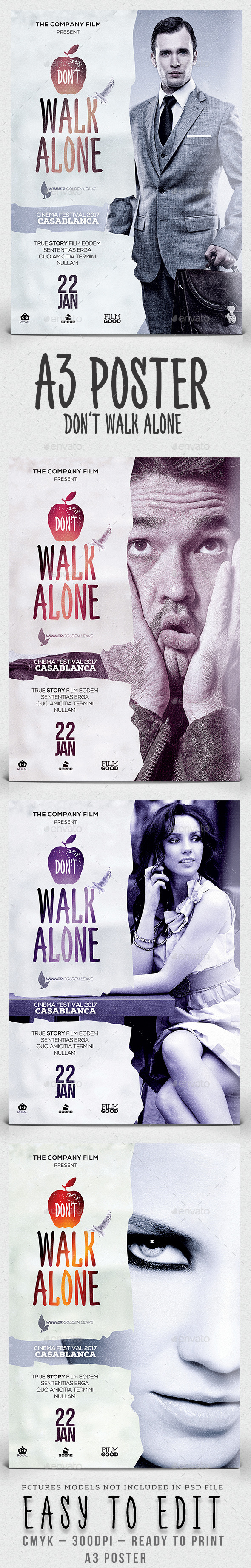 GraphicRiver A3 Don't Walk Alone Poster Film Template 11553757