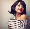 Beautiful smiling short hair woman looking happy. Vintage portra - PhotoDune Item for Sale