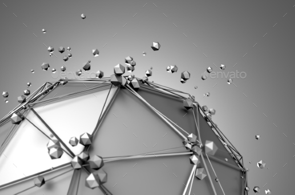 GraphicRiver Low Poly Metal Sphere With Chaotic Structure 11554167