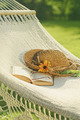 Straw hat and book on lace hammock - PhotoDune Item for Sale