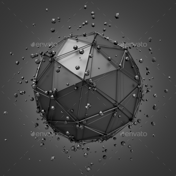GraphicRiver Low Poly Metal Sphere With Chaotic Structure 11554175