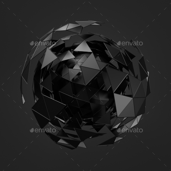 GraphicRiver Low Poly Black Sphere With Chaotic Structure 11554244