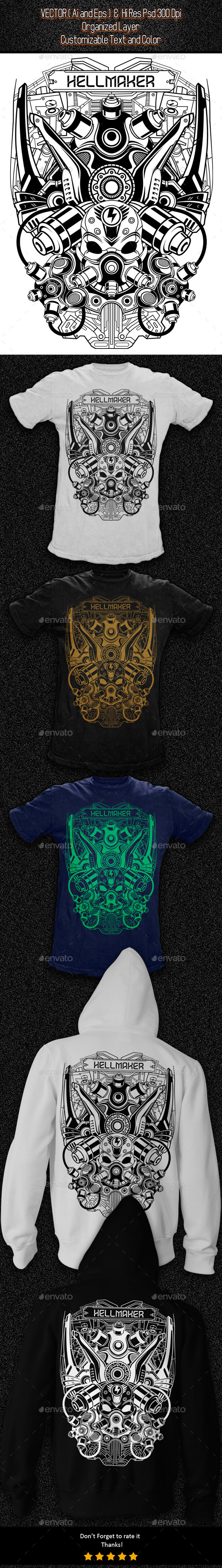 GraphicRiver Futuristic Skull T-shirt Illustration 11554246