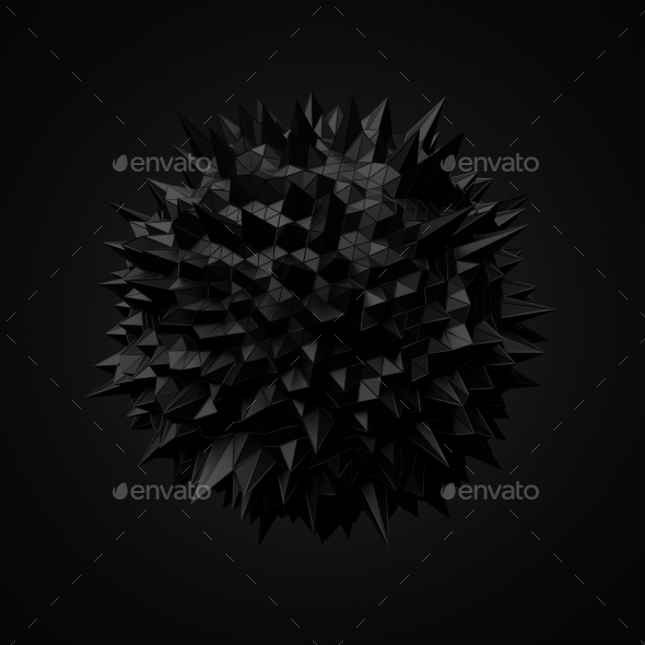 GraphicRiver Abstract Black Sphere With Chaotic Structure 11554333