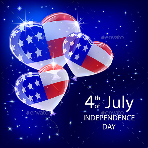 GraphicRiver Independence Day Balloons and Stars 11554436