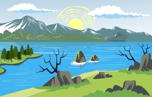 GraphicRiver Landscape with Lake and Mountain Background 11554475
