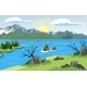 Landscape with Lake and Mountain Background - GraphicRiver Item for Sale