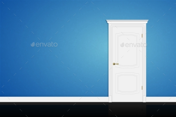 GraphicRiver Closed White Door on Blue Wall 11554736
