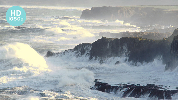 VideoHive Waves Pile into Rocky Coast 11555690