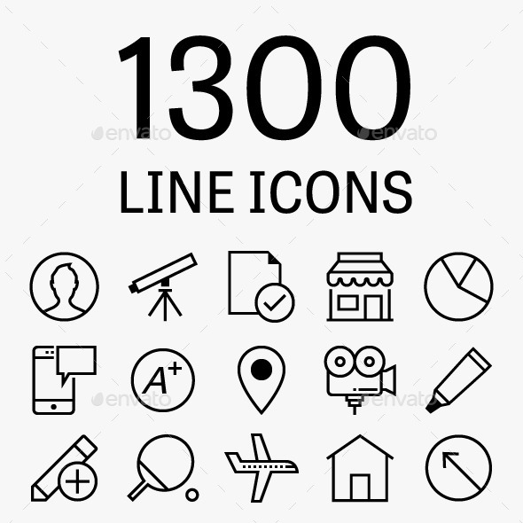 GraphicRiver 1300 Vector Line Icons 11555852
