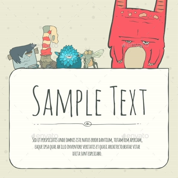 GraphicRiver Doodle Monster Greeteng Or Invitation Card 11556342