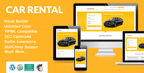 ThemeForest Car Rental WordPress Theme Lnading Page 11454552