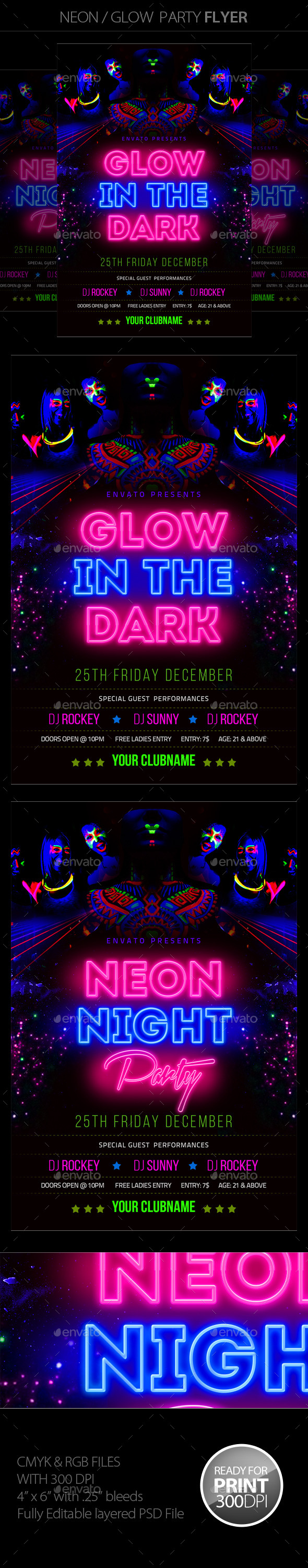 GraphicRiver Neon Glow Party Flyer 11556642